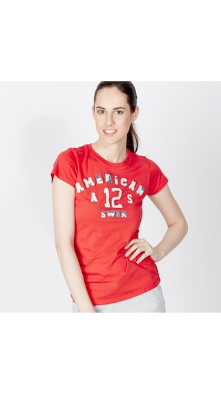 American Swan Red Cotton Tees (Size-M)
