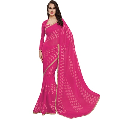 """Anushree Pink Georgette Saree"""