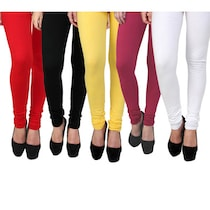 Brandtrendz Multi Color Cotton Leggings Pack Of 5