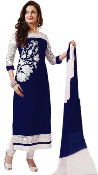 DC Blue Georgette Dress Material