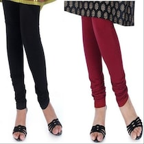 Dollar Missy Churidar Leggings Combo Pack of 2 Black & Maroon (Size -XL)