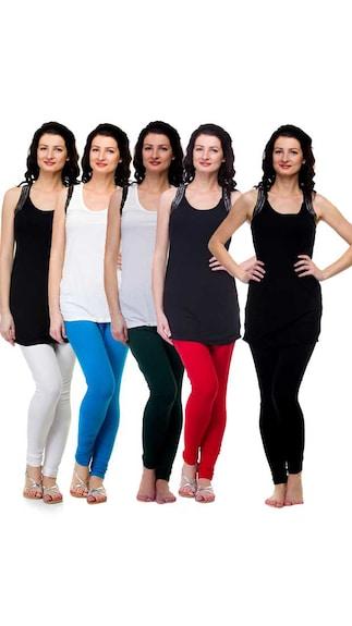 Exhort Fashion Set Of 5 Solid Cotton Spandex Leggings