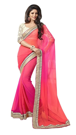 Florence Pink Chiffon Saree With Embroidered Border