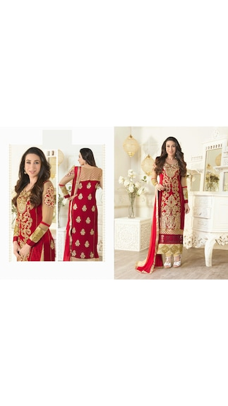 G Creation Red Embroidered Semi Stitched Suit [Buy & Get a Black Legging Free]