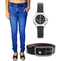 Haltung Blue Cotton And Lycra Jeans With Watch And Belt