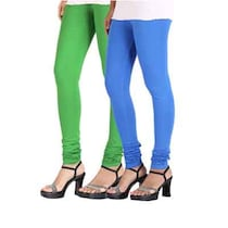 KD Fashion Blue And Green Cotton Leggings Pack Of 2 (Size-M)