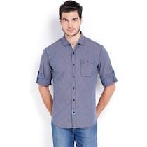 Locomotive Blue Cotton Casual Shirt