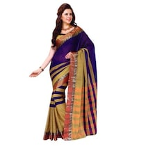 Miraan Dark Blue Cotton Saree