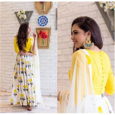 Monika Silk Mill Presents Designer Yellow & White Salwar Suit Without Bottom