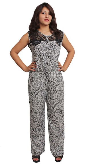 Morgenstern White and Black Rayon Jumpsuits Regular (Size-L)