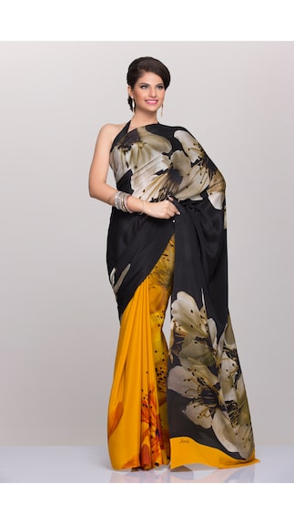 Satomi Yellow And Black Crepe Saree