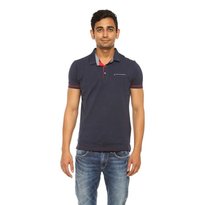 Spykar Blue Cotton T-Shirt