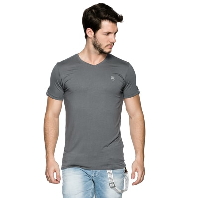 Spykar Grey  Slim Fit T- Shirts