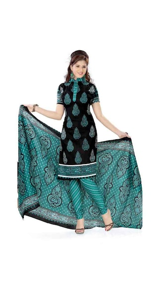 Vaamsi Black And Green Cotton Dress Material