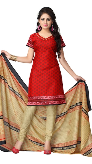 Vaamsi Maroon And Beige Cotton Dress Material