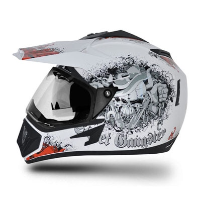 Vega Full Face Off Road DV Gangster White Base With Orange Helmet