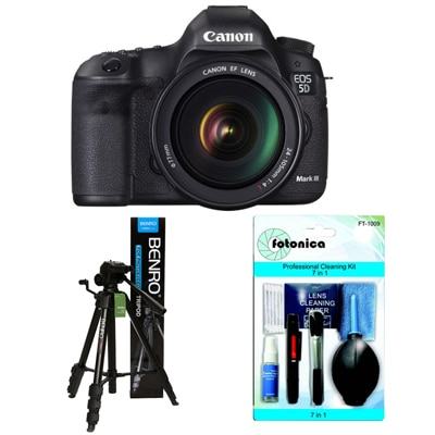 Canon EOS 5D Mark III Kit (With EF 24-105 Mm F/4L IS USM) DSLR Camera + Fotonica 7-in-1 Lens Cleaning Kit + Benro T-880EX Tripod