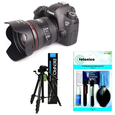 Canon EOS 6D (With 24 - 70 Kit) MP DSLR Camera + Fotonica 7-in-1 Lens Cleaning Kit + Benro T-880EX Tripod