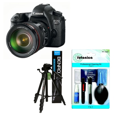Canon EOS 6D (With 24 - 105 Lens) DSLR Camera + Fotonica 7-in-1 Lens Cleaning Kit + Benro T-880EX Tripod