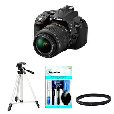 Nikon D5300 (With AF-S 18-55 mm VR Lens) DSLR Camera (Black) + Accessories kit (Lens cleaner, Tripod, Filter)