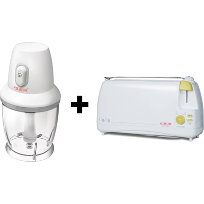 Clearline APPCLR012 Mini Chopper With Auto Pop Up Toaster (White)