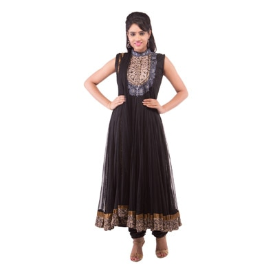"""A Wonder Woman Black Net Anarkali Suit"""