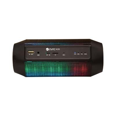 Zync K20 Bluetooth Speaker With Led Lights And In Built Power Bank (Black)