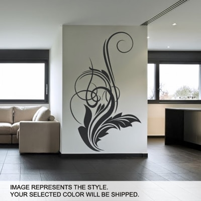 DeStudio Floral Decor Wall Sticker One Wall Sticker And Wall Decal Night Black