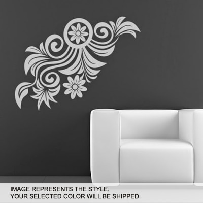 DeStudio Floral Edge Wall Art One Wall Sticker And Wall Decal Night Black