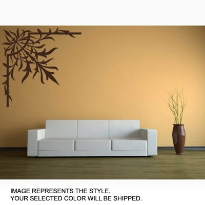DeStudio Floral Leaf Wall Border One Wall Sticker And Wall Decal Night Black