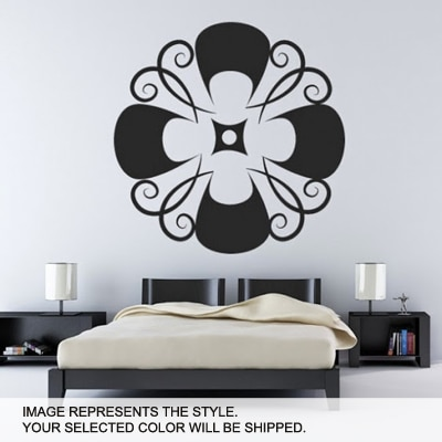 DeStudio Floral Swirl Decorative Wall Art One Wall Sticker And Wall Decal Night Black