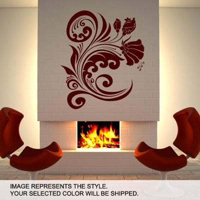 DeStudio Flower Wave Wall Art One Wall Sticker And Wall Decal Night Black