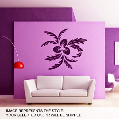 DeStudio Leaves Floral Wall Art One Wall Sticker And Wall Decal Night Black