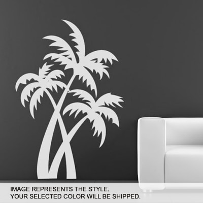 DeStudio Palm Trees At The Beach Wall Art One Wall Sticker And Wall Decal Night Black