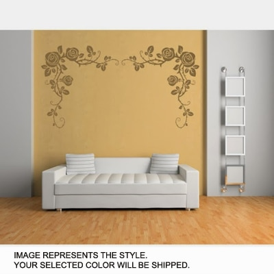 DeStudio Rose Bud Wall Border One Wall Sticker And Wall Decal Night Black