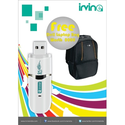 Irvine 21.6 Mbps 2G/3G Data Card Speed Upto 21.6 Mbps With Dell Laptop Bag