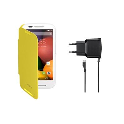 KolorEdge Flip Cover + Travel Charger For Motorola Moto E