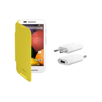 KolorEdge Flip Cover + USB Charger For Motorola Moto E