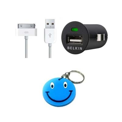Morelife Apple IPhone 4 IPod USB Cable With Universal Belkin Micro USB Car Charger With Free Smiley Key Chain (White)