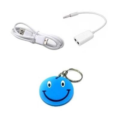 Morelife 3.5mm Stereo Audio Splitter With Data Cable For Samsung Galaxy Note 3 Free Key Chain (White)