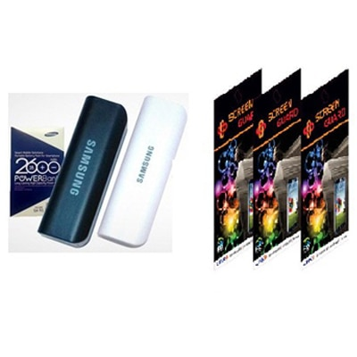 Samsung 2600 MAh Power Bank With 3 X Screen Guards For Samsung Galaxy Star Advance