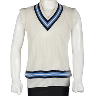6 Pots International V Striped Sleeveless Boys Cricket Sweater-White And Blue