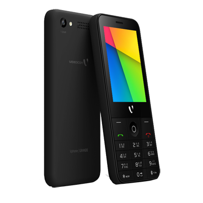 Videocon VPhone Grande With Free Back Cover (Black)