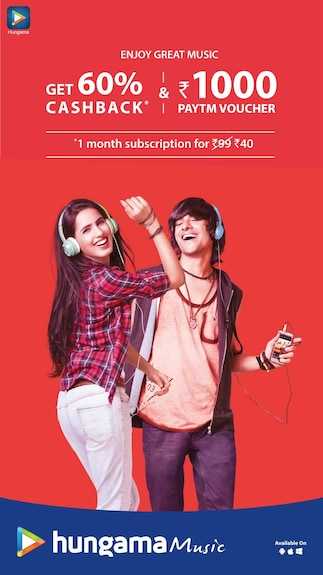 Flat 60% Cashback on 1 Month Hungama Music Subscription