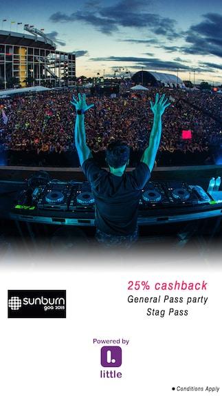 SUNBURN GOA 2015 : General All Day Entry For 1 @25% Cashback