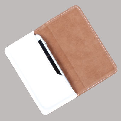 DooDa Leather Pouch For Karbonn A21+ (White)
