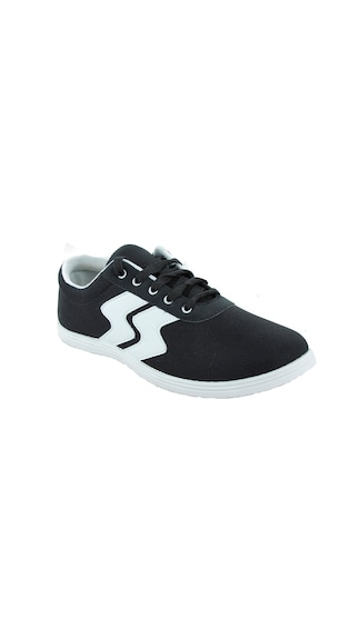Gasser Black Canvas Casual Shoes (Size-7)