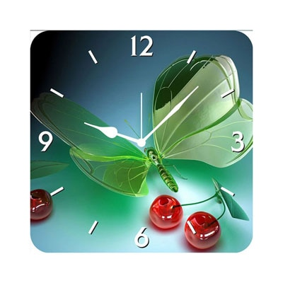 FurnishFantasy 3D Glass Butterfly Wall Clock