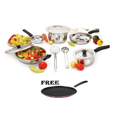 Mahavir 10 Pc Induction And LPG Cookware Set With Free Non-stick Tawa