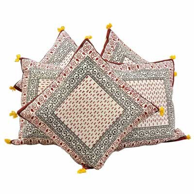 Little India Ethnic Handblock Printed Cotton Cushion Cover Set